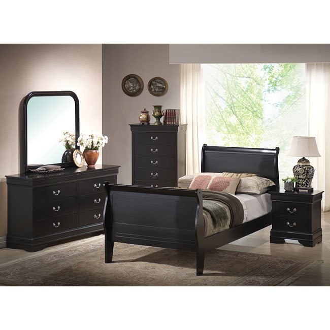Louis Phillipe Youth Bedroom Set (Black)