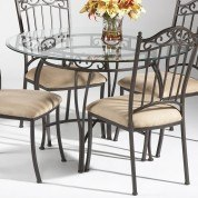 Wrought Iron Round Glass Dining Table