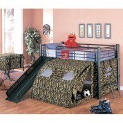 Camouflage Twin Bunk Bed w/ Slide and Tent