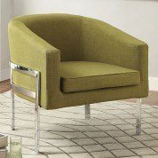 Green Accent Chair w/ Exposed Metal Frame