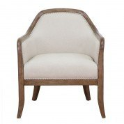 Wood Frame Accent Arm Chair (Beige)