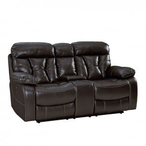 Marianna Double Reclining Loveseat Brown By Homelegance