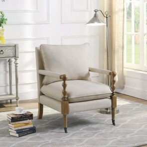 White Accent Chair W Nailhead Trim By Coaster Furniture
