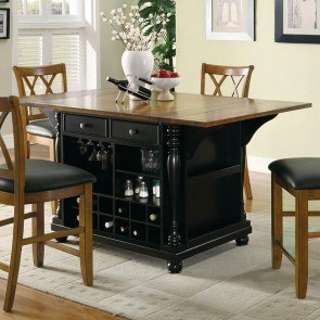Black And Cherry Kitchen Island