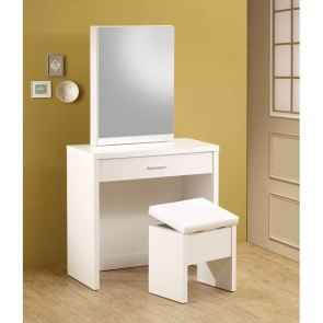 Contemporary 2 Piece Vanity Set (White)