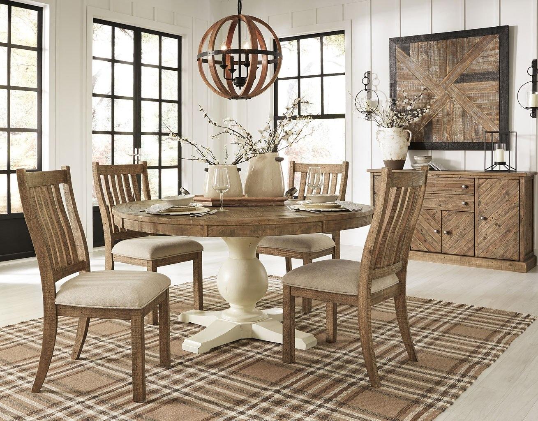 grindleburg round dining room set w light brown chairs by signature rh furniturepick com light gray dining room set light colored dining room sets