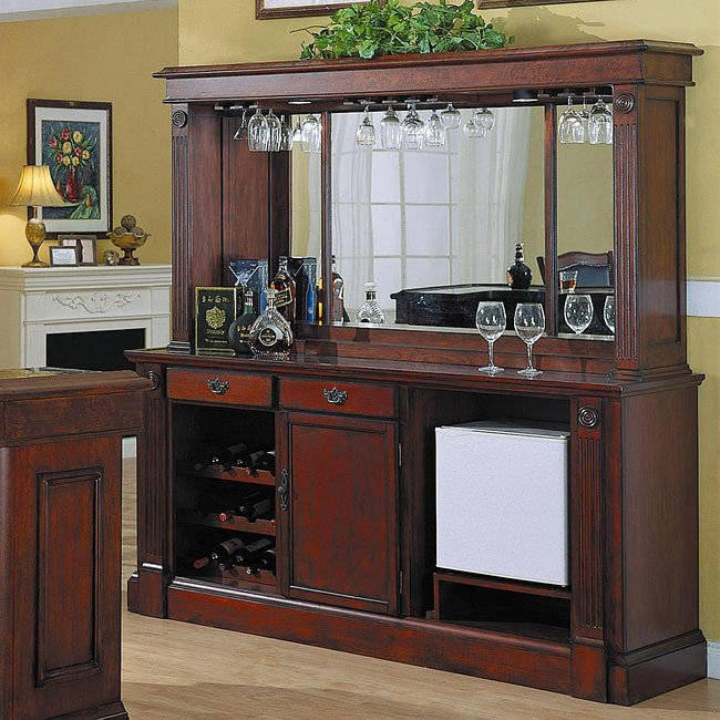 Bar Back Furniture: Monticello Back Bar W/ Hutch In Burnished Cherry By ECI