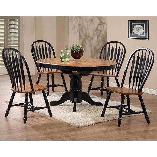 Missouri Round Dining Table Black Rustic Oak Eci: Missouri Round Dining Room Set (Black/ Rustic Oak) ECI