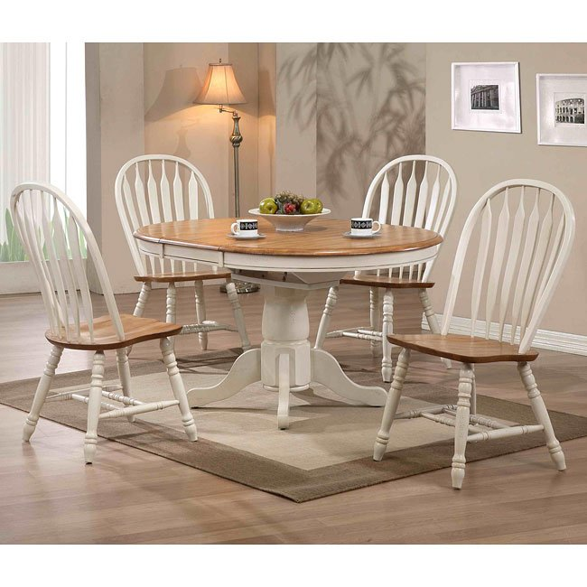 Missouri Round Dining Room Set (Antique White/ Rustic Oak