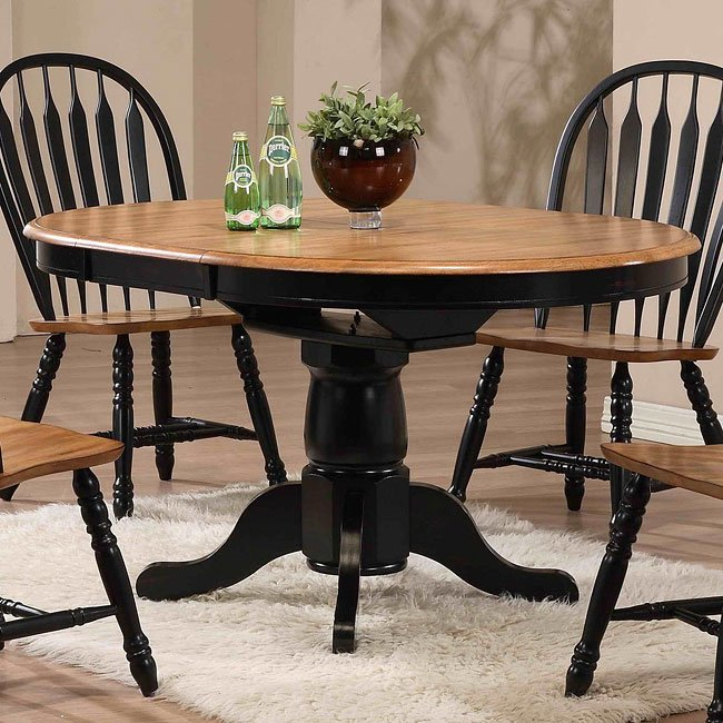 Oak Kitchen Table Chairs: Missouri Round Dining Table (Black/ Rustic Oak) By ECI