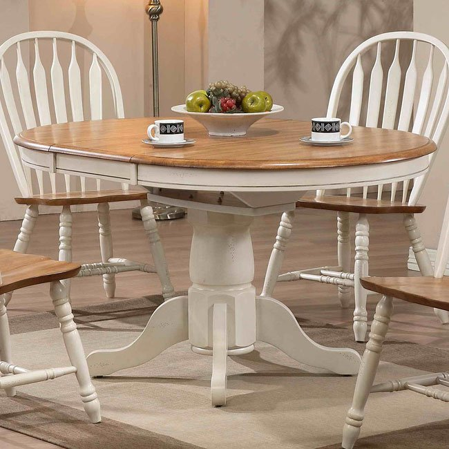 Missouri Round Dining Table Antique White Rustic Oak