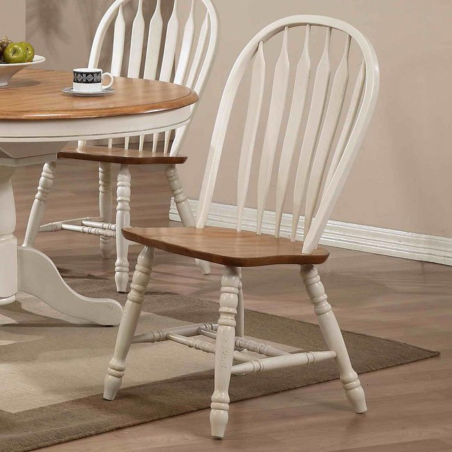 Antique Oak Dining Room Furniture: Missouri Round Dining Room Set (Antique White/ Rustic Oak