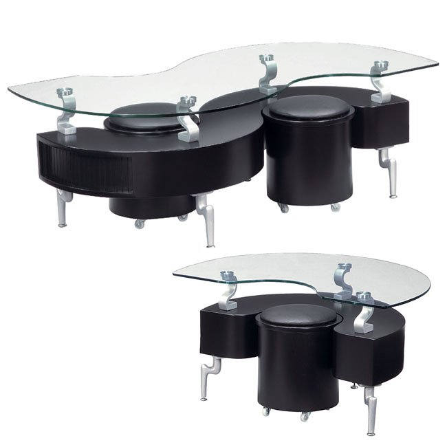 288 Black Occasional Table Set W Seats