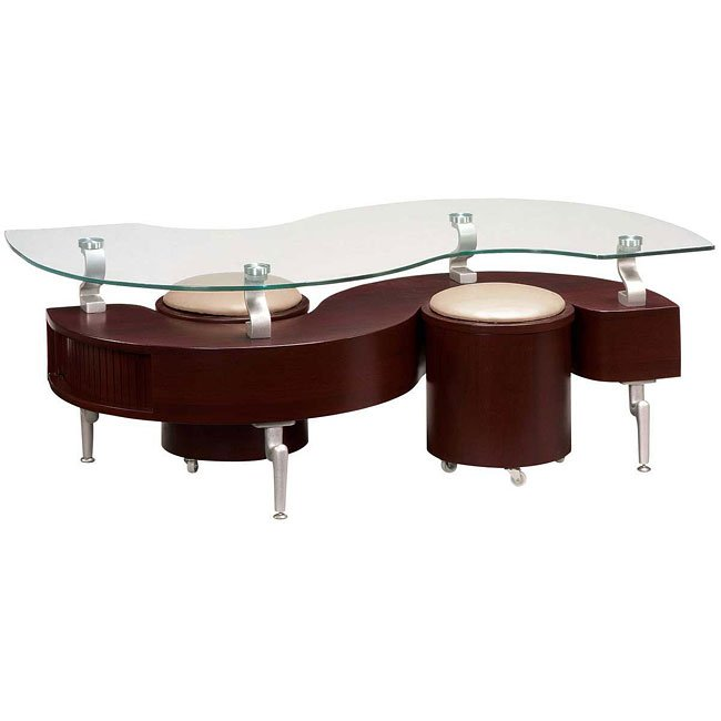 288 Mahogany Coffee Table W Beige Seats