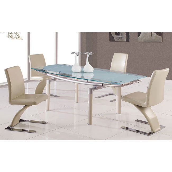 88DT Frosted Top Dining Room Set W/ Beige Chairs By Global