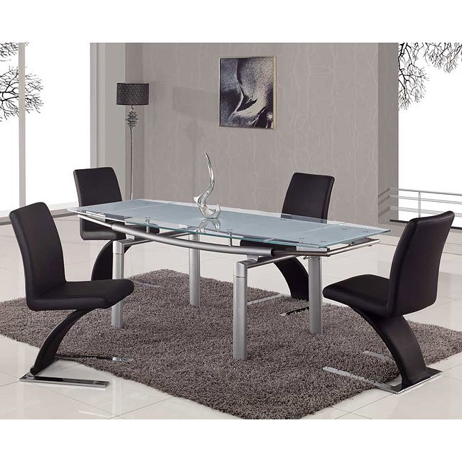 88dt Frosted Top Dining Room Set W Black Chairs