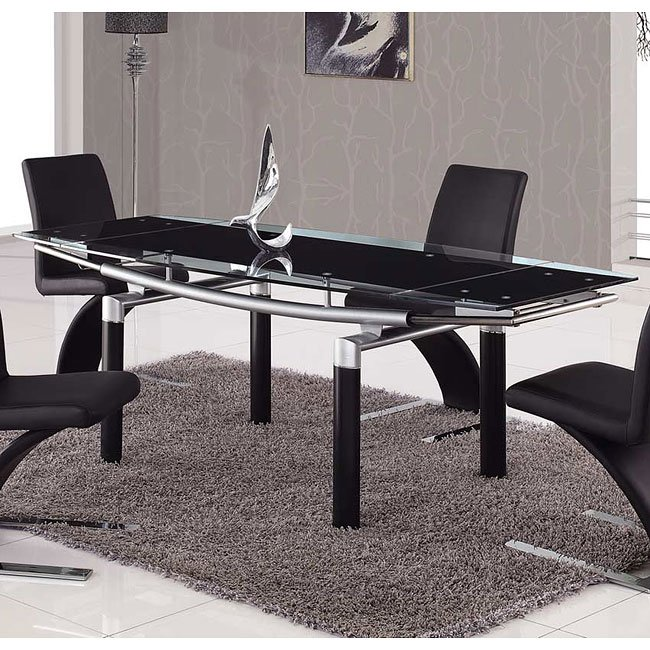 88DT Black Glass Dining Table W/ Black Legs By Global