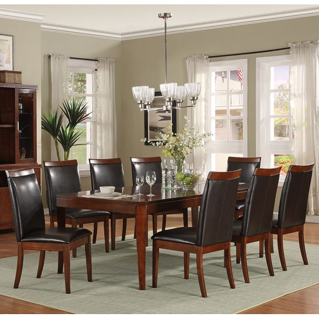 Elmhurst Leg Dining Room Set With Brown Wood Rail Chairs