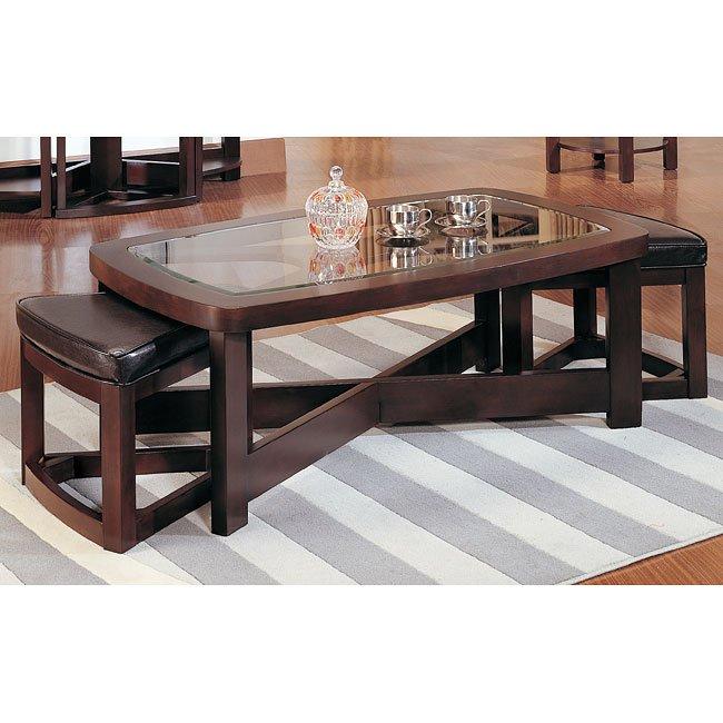 brussel rectangular cocktail table w 2 ottomans by homelegance furniturepick. Black Bedroom Furniture Sets. Home Design Ideas
