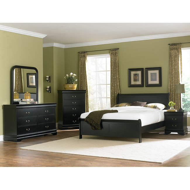 Marianne Sleigh Bedroom Set (Black) Homelegance | FurniturePick