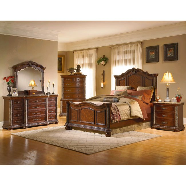 Catalina Panel Bedroom Set (Cherry) By Homelegance
