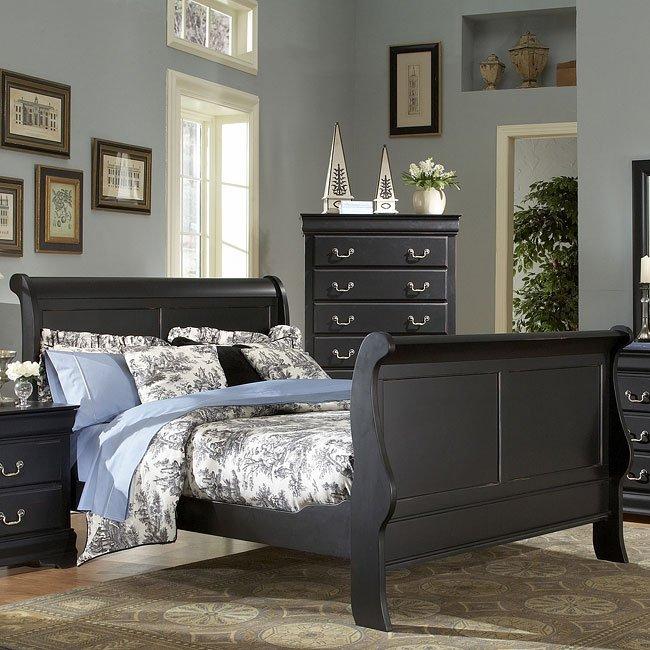 Bastille Sleigh Bedroom Set (Black) by Homelegance | FurniturePick