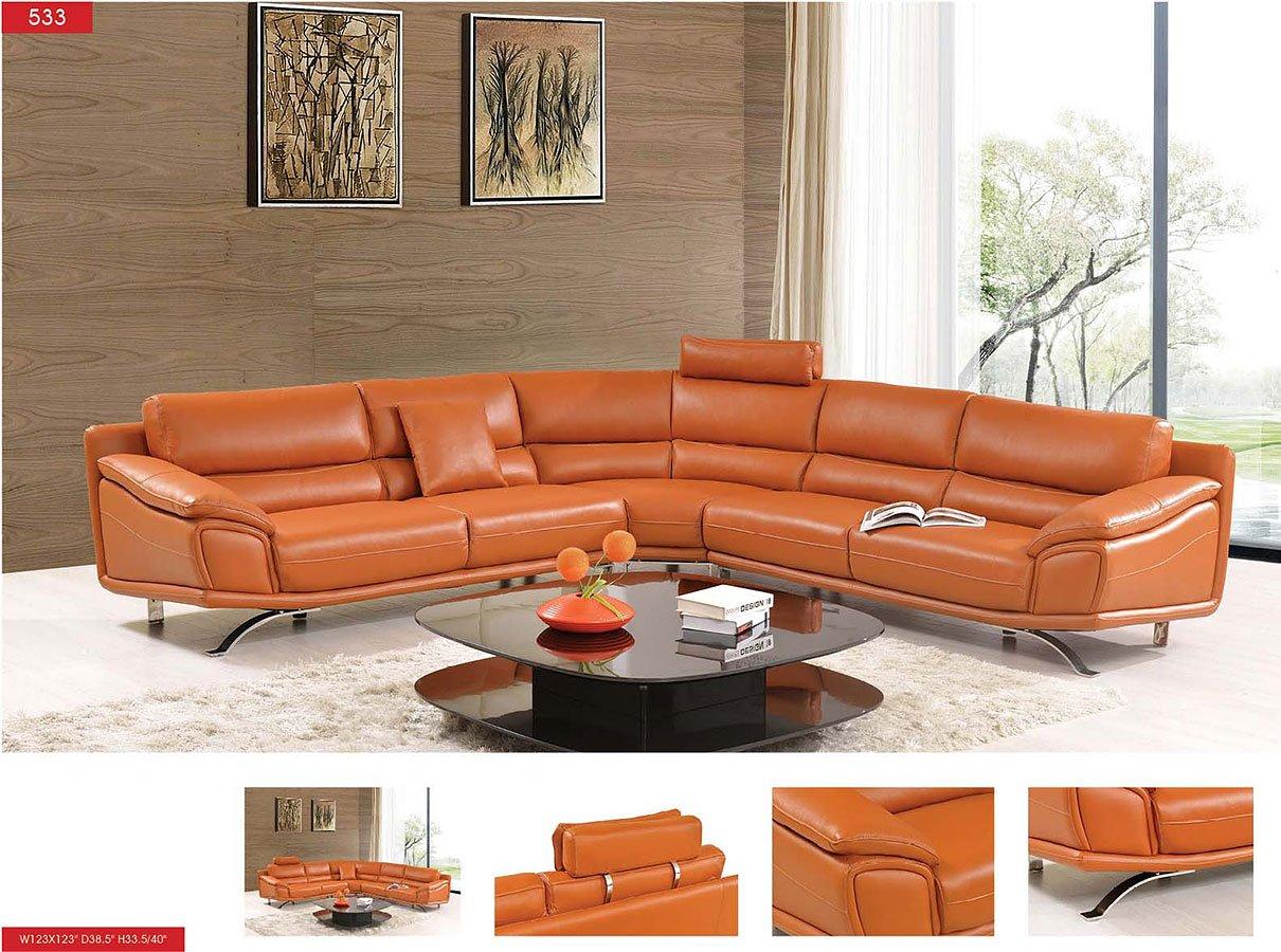 533 Orange Leather Sectional Set Living Room Sets