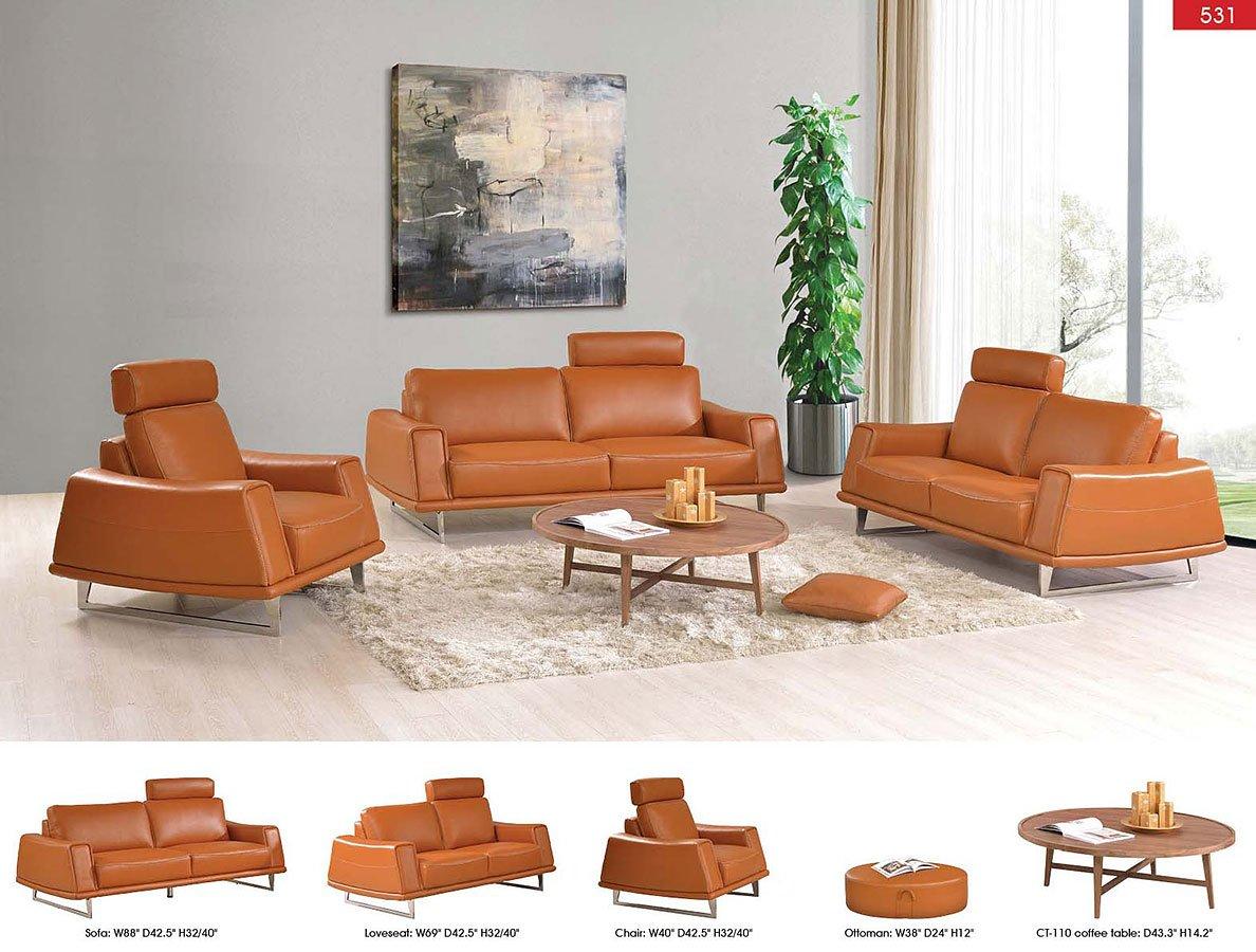 531 Orange Leather Living Room Set - Living Room Furniture ...