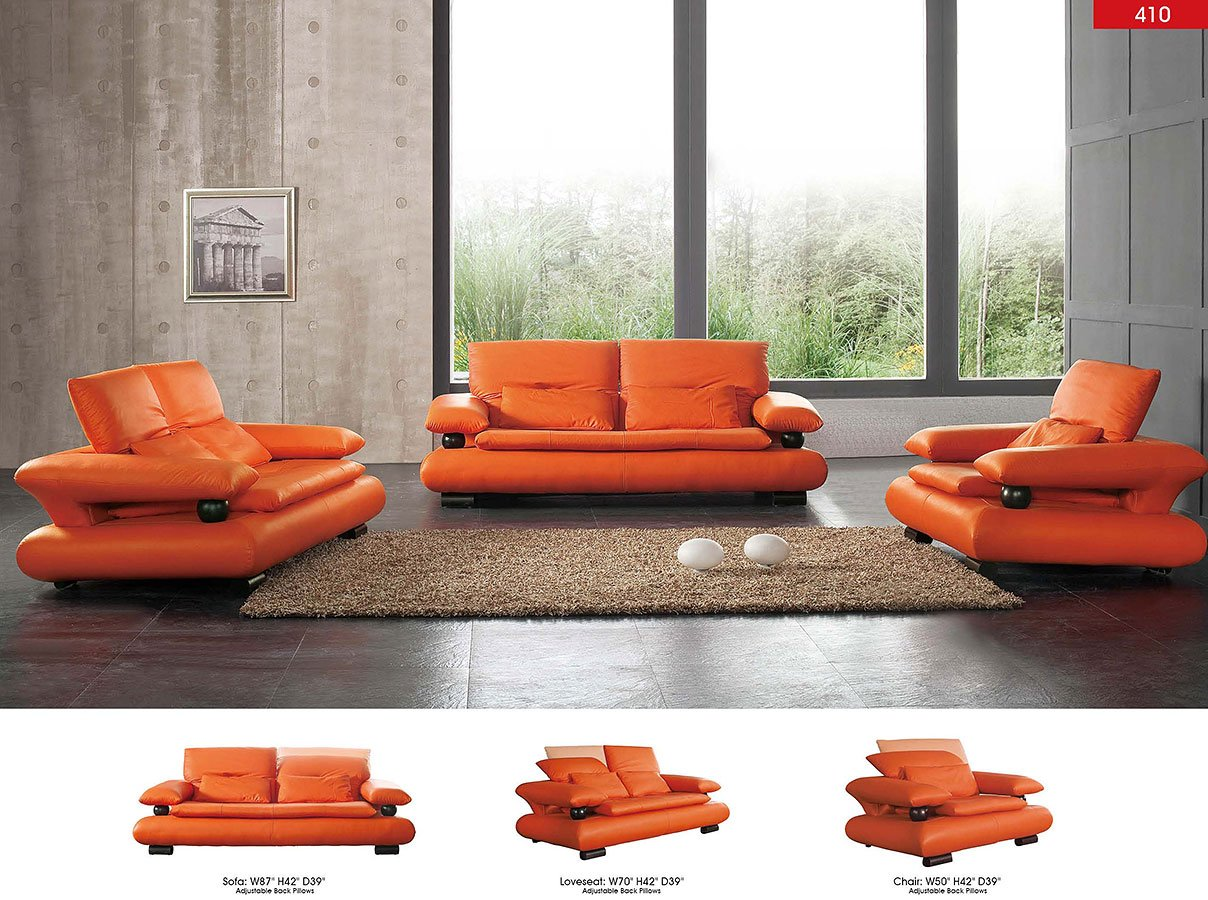 Orange Leather Set Living Room