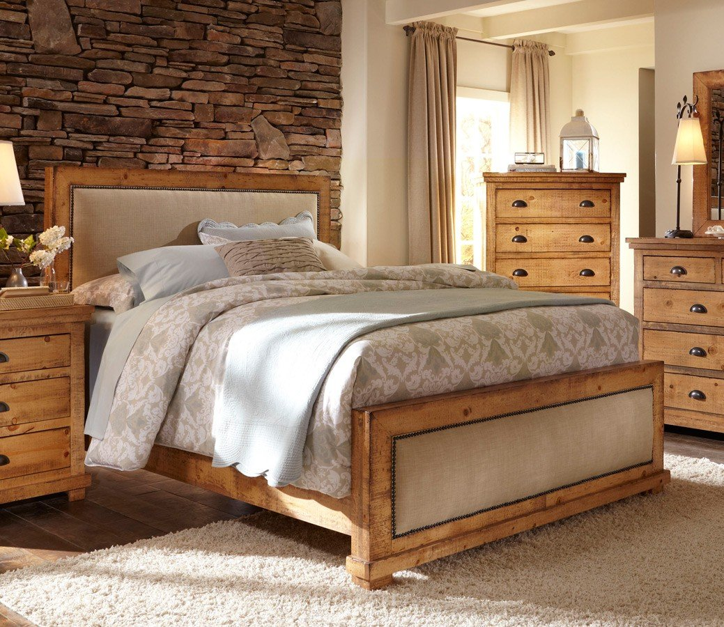 Willow upholstered bed distressed pine