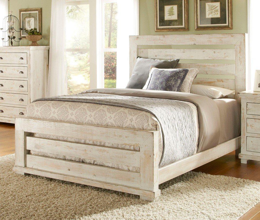 Willow Slat Bedroom Set (Distressed White) by Progressive Furniture ...