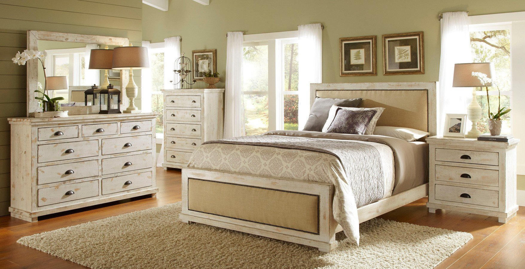 Willow Upholstered Bedroom Set Distressed White By Progressive Furniture Furniturepick