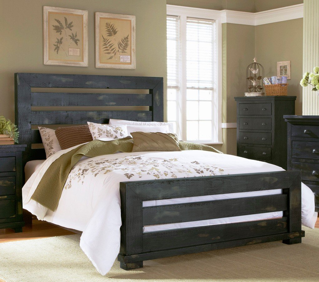 Willow Slat Bed Distressed Black