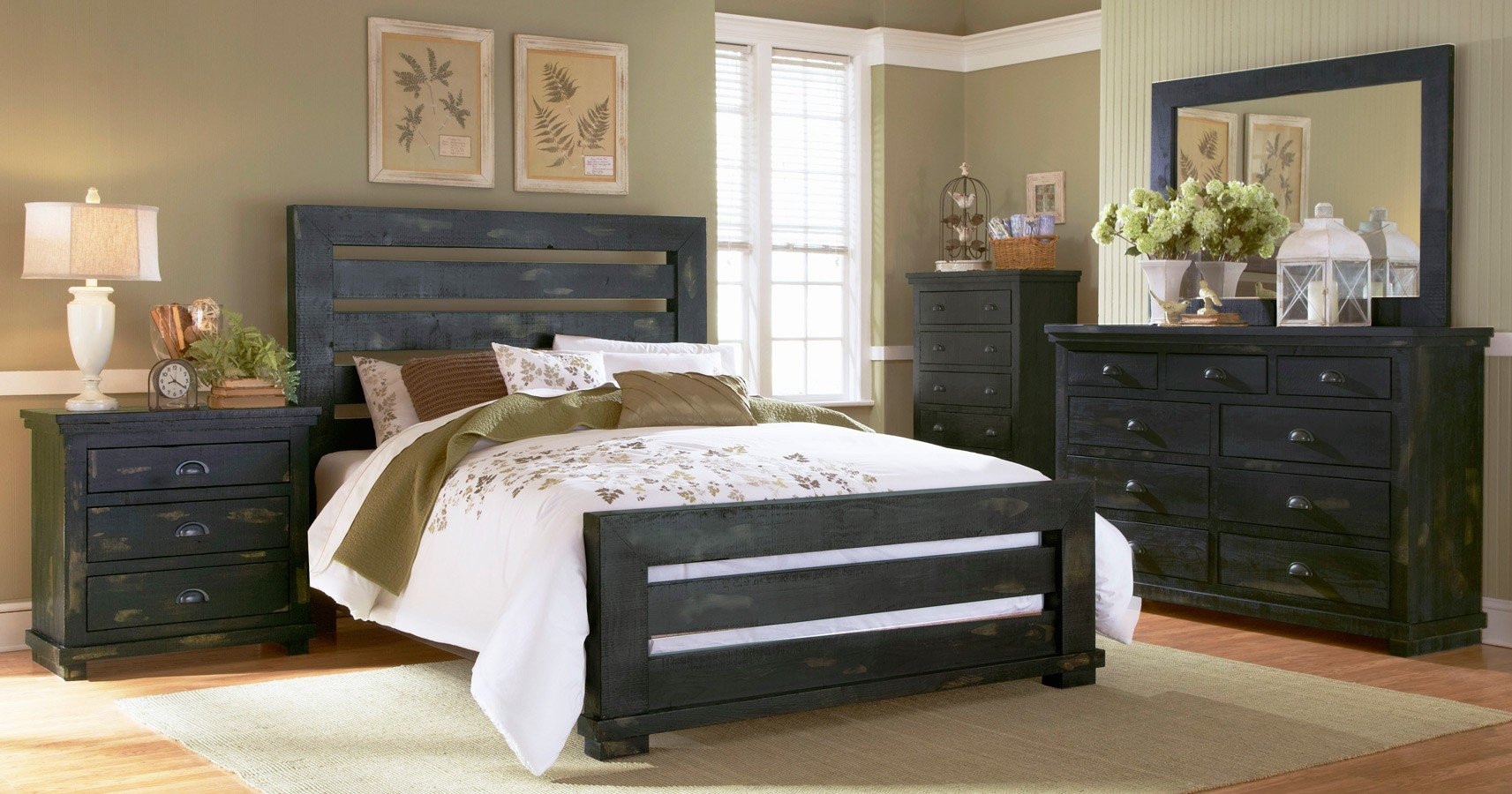 Willow Slat Bedroom Set Distressed Black