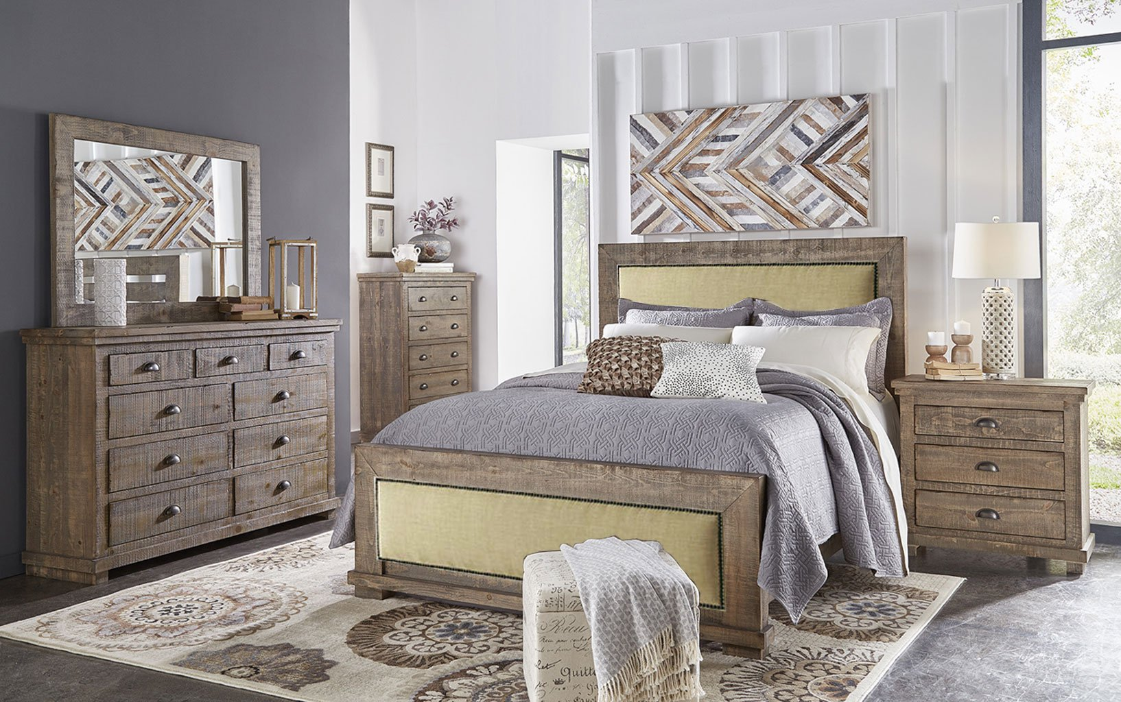 Willow Upholstered Bedroom Set (Weathered Grey
