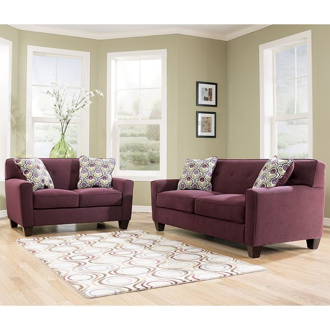 Danielle Eggplant Living Room Set By Signature Design By
