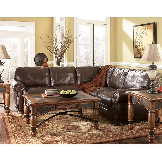 Walnut Sectional Living Room Set By Millennium