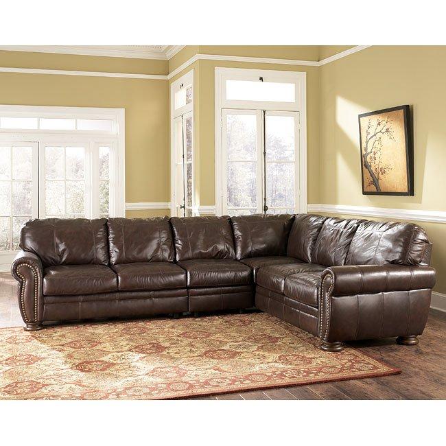 palmer walnut sectional living room set by millennium. Black Bedroom Furniture Sets. Home Design Ideas