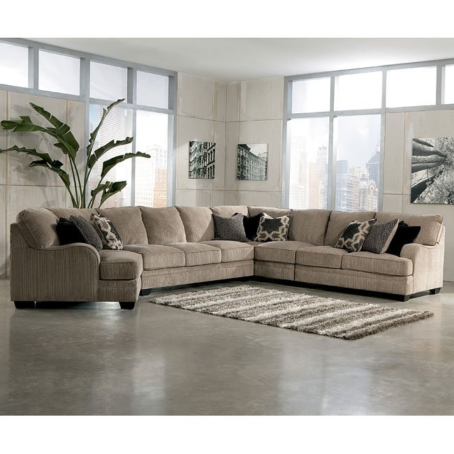 Modular Sectional Sofa Ashley: Katisha Platinum Large Modular Sectional W/ Cuddler