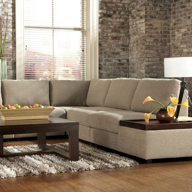 Tosha Linen Sectional Living Room Set By Signature Design Ashley Furniturepick
