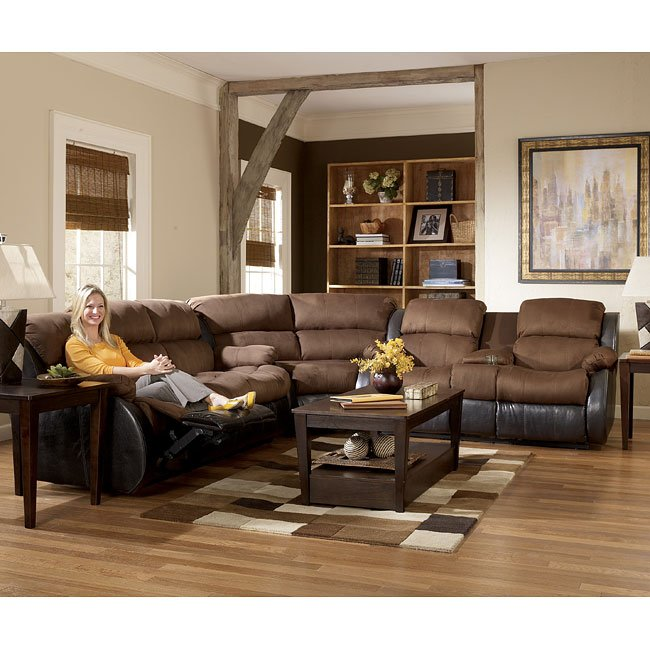 Presley Espresso Reclining Sectional Living Room Set By