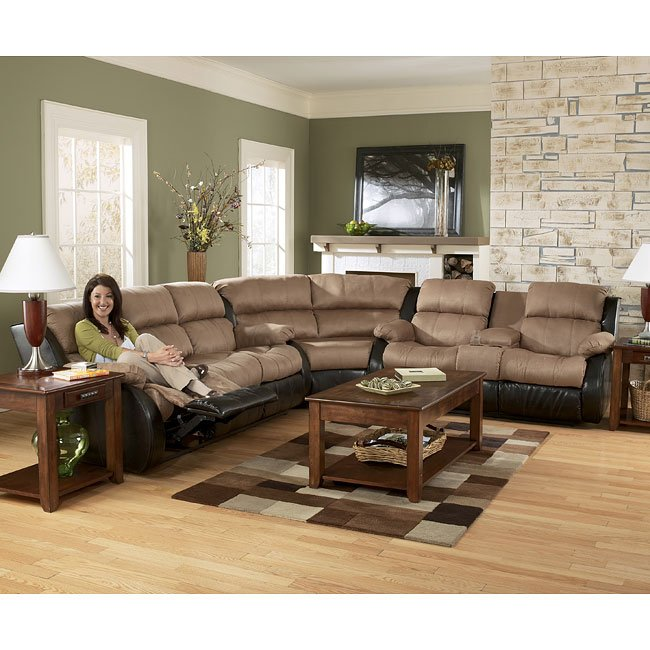 presley cocoa reclining sectional living room set by signature design by ashley furniturepick. Black Bedroom Furniture Sets. Home Design Ideas