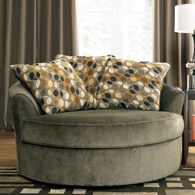 Charcoal Oversized Swivel Accent Chair