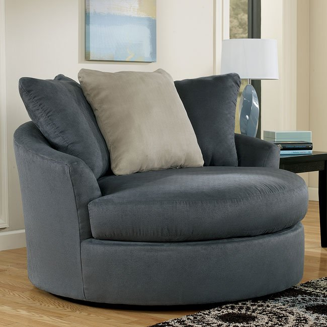 Indigo Oversized Round Swivel Chair Signature