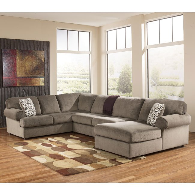 Jessa place dune right chaise sectional signature design for Ashley furniture leather sectional with chaise