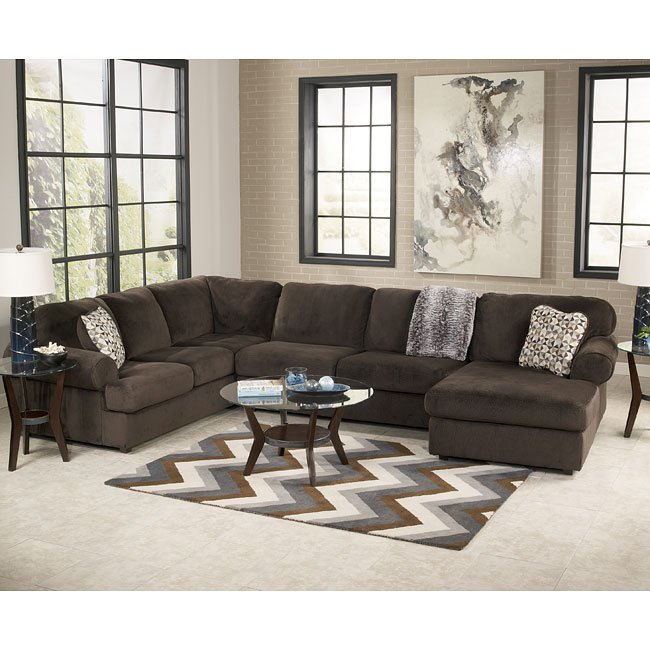 jessa place chocolate sectional living room set signature design by ashley furniturepick. Black Bedroom Furniture Sets. Home Design Ideas
