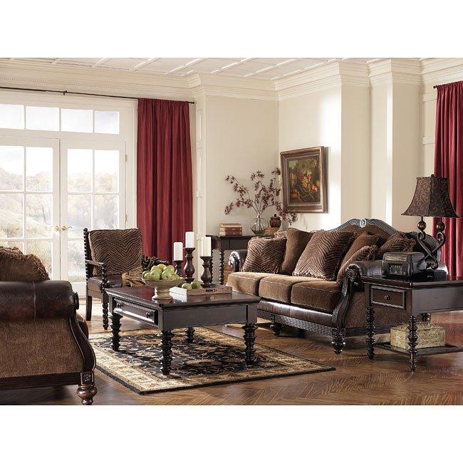 Key Town   Truffle Living Room Set