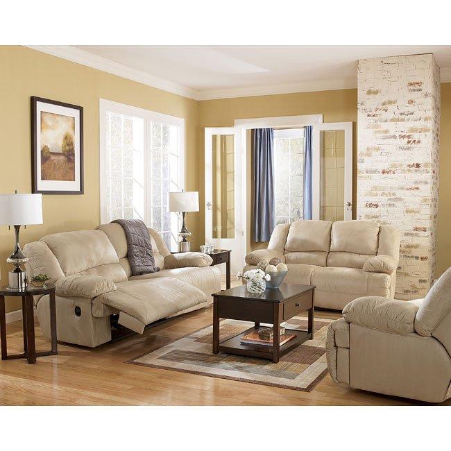 hogan  khaki reclining living room set signature design