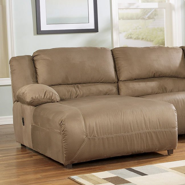 Hogan Mocha Left Facing Pressback Sectional Chaise By Signature Design Ashley