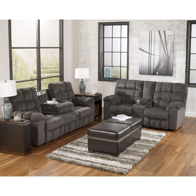 Acieona Slate Reclining Living Room Set By Signature